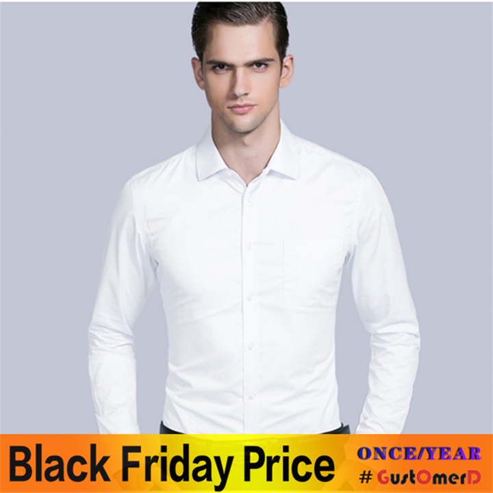 New Fashion Business Casual Men Shirt Long Sleeve Solid Color Slim Fit Shirt High-quality Shirts Men white twill 38