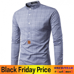 GustOmerD Real Fashion Big Plaid Small Leather Label Design Men's Casual Long Sleeve Shirt grey size l 58 to 65kg