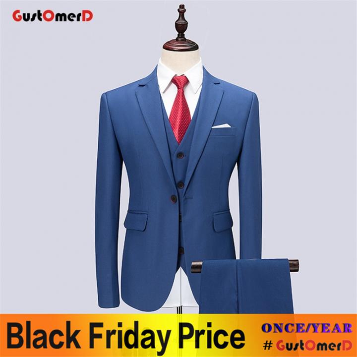 GustOMerD Wedding Dress For Men Suit Business Men Suit Slim Fit Casual Jacket Fashion Gentleman Coat blue size M 45 to 52kg