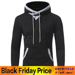 GustOmerD New Patch clothes Men's Casual Hooded Hooded Sweater Jacket black size M 50 to 58kg