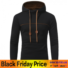 GustOmerD  New Striped Color Hoodies Men's Casual Hooded Hood Sweater Jacket black size M 50 to 58kg