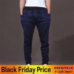 GustOmerD 8 Colors 2018 Unique Pocket Mens Joggers Cargo Pants Sweatpants Harem Pants Men navy blue L waist 30 to 31