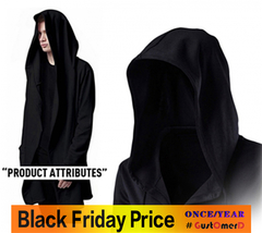 Men Hooded Jacket Black Gown Best Quality Hip Hop Mantle Hoodie Sweatshirts long Sleeves Cloak Coats black size m 50 to 58kg