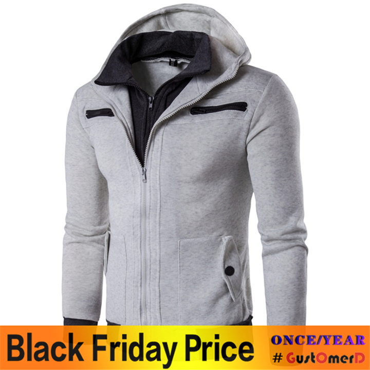 GustOmerD New Men's Fashion Casual Long Sleeved Sweater Sweater Male Personality light grey size m 50 to 58 kg