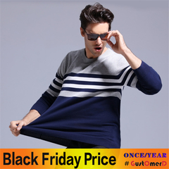 GustOmerD 2018 100% Cotton Sweater Men O-neck Slim Fit Knitting Pullover Mens Sweaters And Pullovers navy size xl 65 to 72 kg
