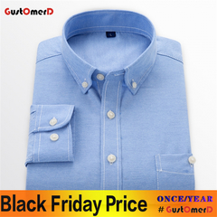 GustOmerD New Men Oxford Shirt Youth Fashion Slim Fit Shirt Brand Clothing Mens Business Shirt Male Lakeblue size 5xl 90 to 98kg