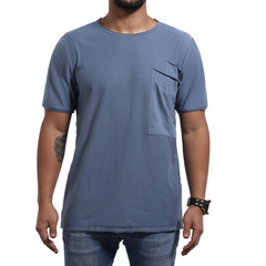 GustOmerD 100% Cotton Big Pocket Decorated T Shirt Men Short Sleeve Casual Loose Fitness T-shirt Men navy US M 55 to 65kg cotton