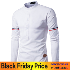 GustOmerD Fashion Small Label Sleeve Color Ribbon Design Men's Casual Long Sleeve Shirt white size xxl 75 to 85kg