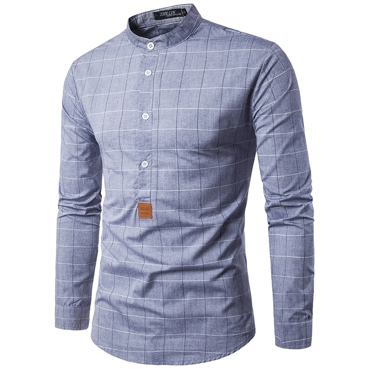 GustOmerD Fashion Small Label Sleeve Color Ribbon Design Men's Casual Long Sleeve Shirt grey size xl 65 to 75kg