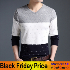 2018 brand social cotton thin men's pullover sweaters casual crocheted striped knitted sweater men gray size m 50 to 58 kg