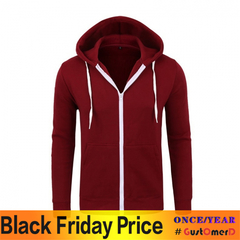 New Sweatshirt Zip Hooded Sweatshirt Jacket Men's Solid Color Cardigan Hoodies wine red size m 50 to 58kg