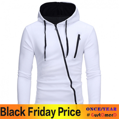 GustOmerD New Style Features Oblique Zipper Men's Leisure Self Cultivation Cardigan Sweater white size l 58 to 65 kg