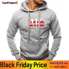 GustOMerD Hoodie Interest Letter Print Hoodies Men Fashion Tracksuit Male Sweatshirt Hoody gray size m 45 to 52kg
