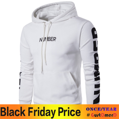 GustOmerD New Men's Long Sleeved Hoodie Coat Printing Letters Hood Hoodies Men white size l 58 to 65 kg
