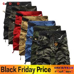 GustOmerD Cotton Casual Men Camouflage Short Pants Clothing Comfortable Camo Man short trousers black Camo 29