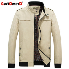 GustOmerD Mens Casual Jacket 100% Cotton High Quality Male Windbreakers Fashion Solid Khaki Jackets khaki size m 50 to 58kg