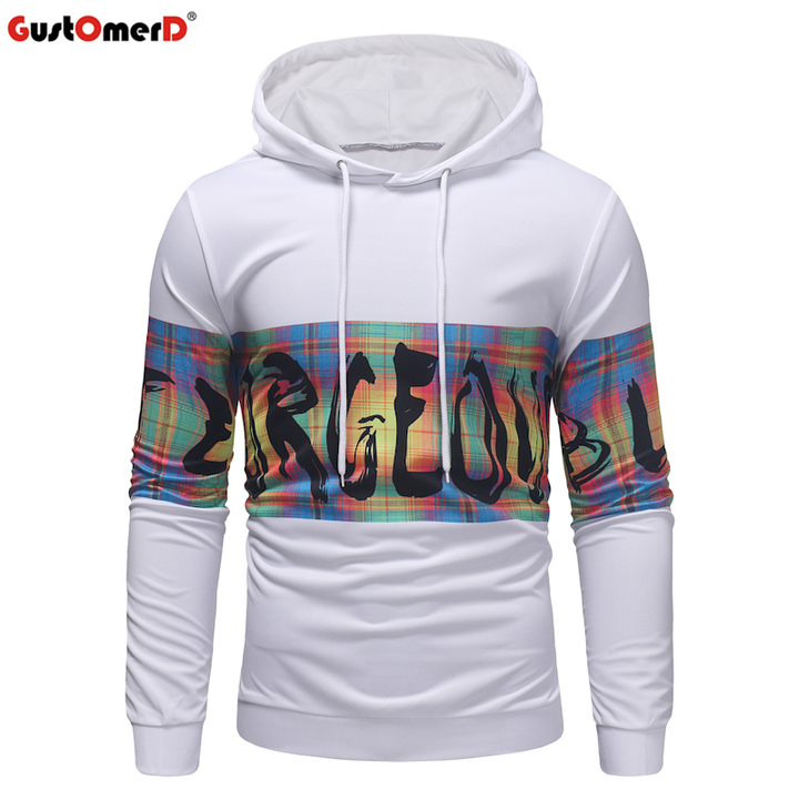 the latest b9101 61cc4 GustOmerD Mens Printed Pullover Long Sleeve Hooded Sweatshirt Tops Blouse  Brand Male Sportswear white size m 58 to 65kg