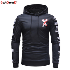 GustOMerD Long Sleeve Printed Hoodie Hooded Sweatshirt Top Tee Outwear Blouse New Mens Brand Hoodies as picture size m 58 to 65kg
