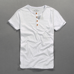 GustOmerD 100% Cotton solid soft slim tshirt men Four buttons round neck short sleeve t shirt men white size s 45 to 50kg cotton