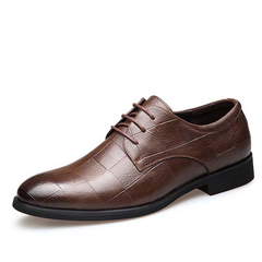 Mens Dress Shoes Fashion Pointed Toe Lace Up Men's Business Casual Shoes Leather Oxfords Shoes brown 6