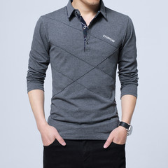 New 100% Cotton T shirt Men Casual T-shirt Solid Long Sleeve Men Cotton T-shirt Slim Fit Large Size dark gray size m 50 to 58kg cotton