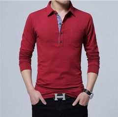 Men Long Sleeve Cotton T-shirt Turn-down Collar Button Slim T Shirt Men Solid Color Casual Tees Tops red size m 50 to 58kg cotton