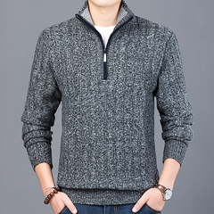 New Fashion Sweater Men Half Zip Pullover Slim Fit Jumpers Knitwear Thick Casual Clothing Male dark grey size m 50 to 58 kg