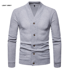 GustOmerD New Pierced Fashion For Men Contrast Color Long Sleeve Two False Pieces Cardigan Coat light grey size s 50 to 58 kg