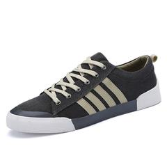 New Men Shoe Breathable Casual Shoes Mens Canvas Shoes for Lace-Up Brand Fashion Flat Male Shoe dark grey 6.5