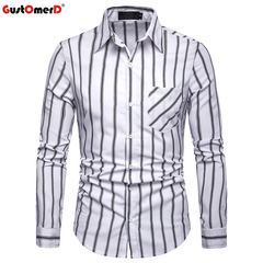 GustOmerD Striped Shirt Men New Slim Fit Long Sleeve Shirt Button Down Shirts Business Formal Shirt white size s 50 to 58kg