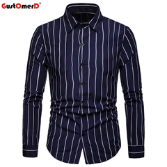 GustOmerD Long Sleeve Stripe Shirt Of Men Plus Sizes Top Blouse Mens Clothing Slim Fit Casual Shirts blue size s 50 to 58kg