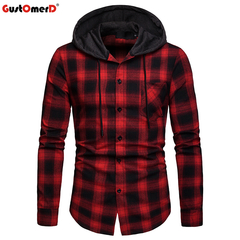 GustOmerD Hoodie Shirt Men Slim Fit Pattern Hooded Shirts Male Casual Pocket Long Sleeve Chemise red size s 50 to 58kg