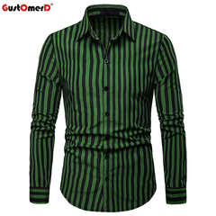 GustOmerD Fashion Striped Shirt Men New Casual Button Down Dress Shirts Slim Fit Long Sleeve Shirt green size s 50 to 58kg