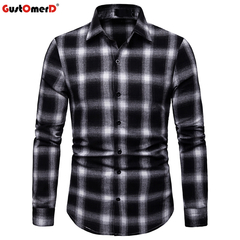 GustOmerD Fashion Plaid Shirt Men Checkered Shirt Slim Fit Long Sleeve Dress Shirt Chemise Homme black size s 50 to 58kg