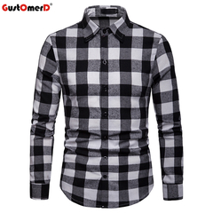 GustOmerD Fashion Plaid Long Sleeve Shirt Men Slim Fit Shirts Casual Button Down Checked Work Shirt black size 2xl 80 to 88kg
