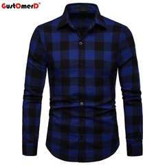 GustOmerD Fashion Plaid Long Sleeve Shirt Men Slim Fit Shirts Casual Button Down Checked Work Shirt blue size s 50 to 58kg