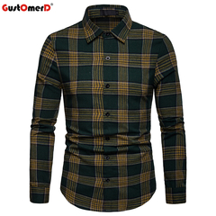 GustOmerD Fashion Plaid Long Sleeve Shirt Men Slim Fit Shirts Casual Button Down Checked Work Shirt green size l 65 to 72kg