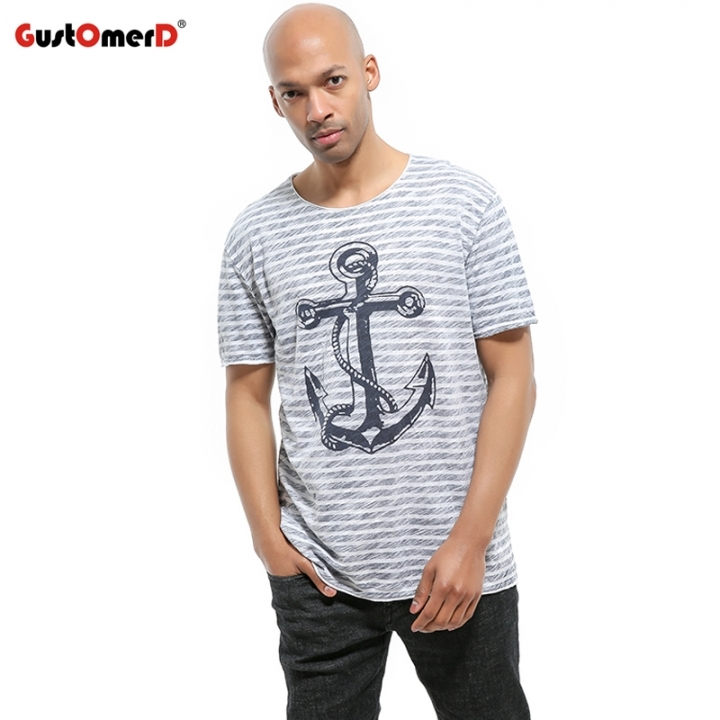 GustOmerD 100% Cotton T-shirt Hip Hop Anchor Printed Men T Shirt Short Sleeve Striped Casual Men blue size S 50 to 55kg cotton