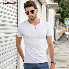 GustOmerD Men's t shirt men V-neck T Shirts Casual Short Sleeve Slim Fit Cotton tee shirt white size m 50 to 58kg cotton & spandex