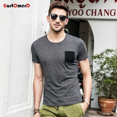 GustOmerD Solid Tshirt Pocket Design T-shirts O-Neck Slim Fit Fashion Harajuku Hot Tees Tops black size xl 65 to 72kg cotton