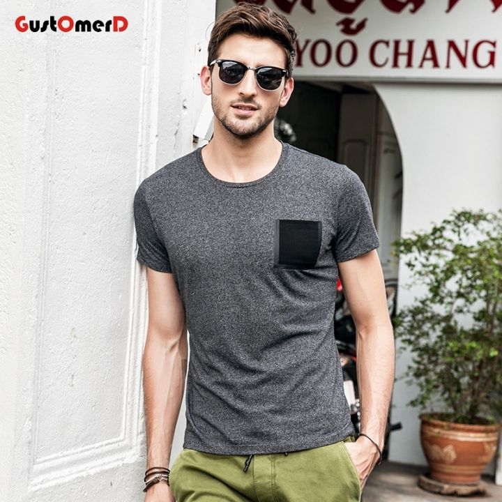 GustOmerD Solid Tshirt Pocket Design T-shirts O-Neck Slim Fit Fashion Harajuku Hot Tees Tops black size m 50 to 58kg cotton