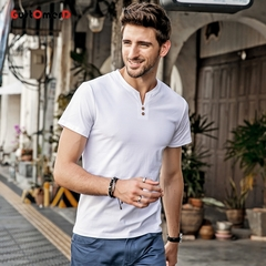 GustOmerD Men's Short Sleeved T-shirt V Neck Button Decorated Casual Solid Slim Fitness Quality Male white size 3xl 80 to 88kg cotton & spandex