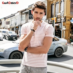 GustOmerD New Fashion Striped Mens T-shirt Short Sleeve Casual Tshirt Cotton Slim Fit O Neck Tee pink size xxl 72 to 80kg cotton