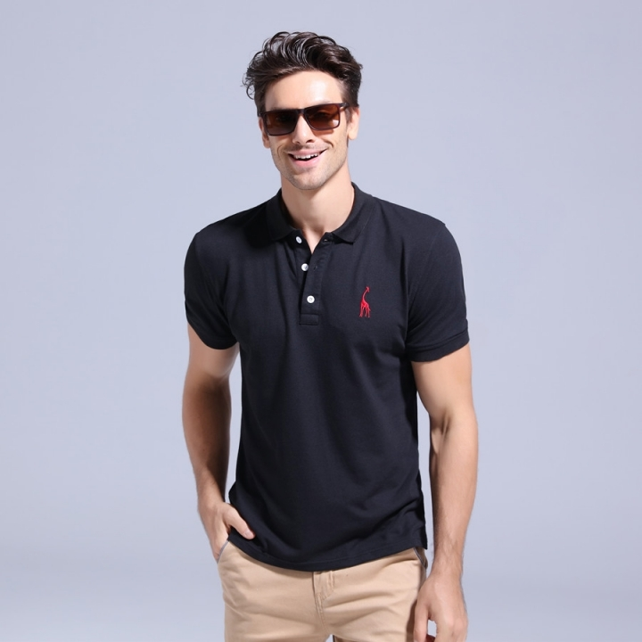 GustOmerD Summer 100% Cotton Polo Shirt Men Short Sleeve Casual Mens Shirts Polos black size L 65 to 72kg cotton