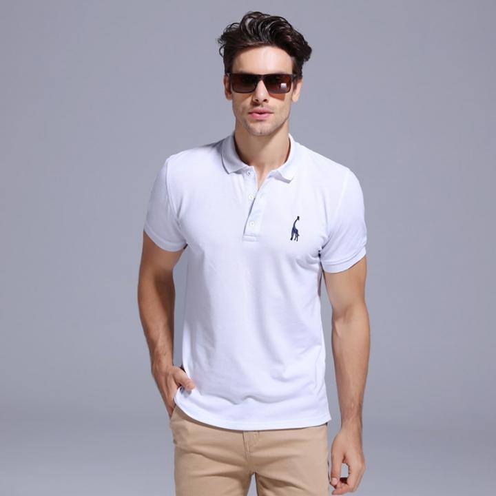 fdb201d403bd GustOmerD Summer 100% Cotton Polo Shirt Men Short Sleeve Casual Mens Shirts  Polos white size