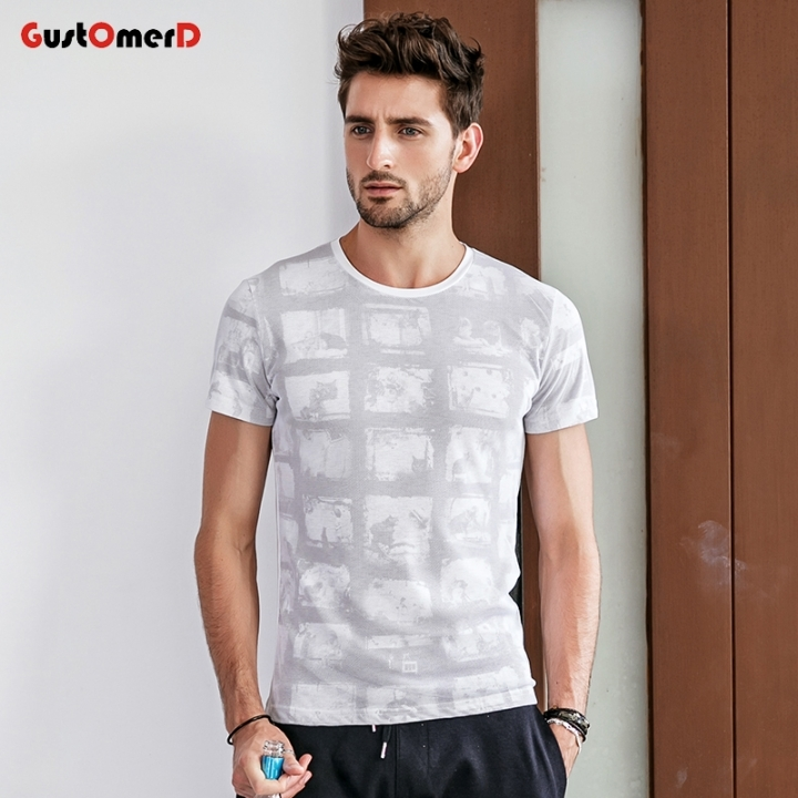 GustomerD 2018 Summer Mens Print Casual Short Sleeve O-neck Slim Cotton Plaid T-shirt Male Tops Tee white size m 50 to 58kg cotton