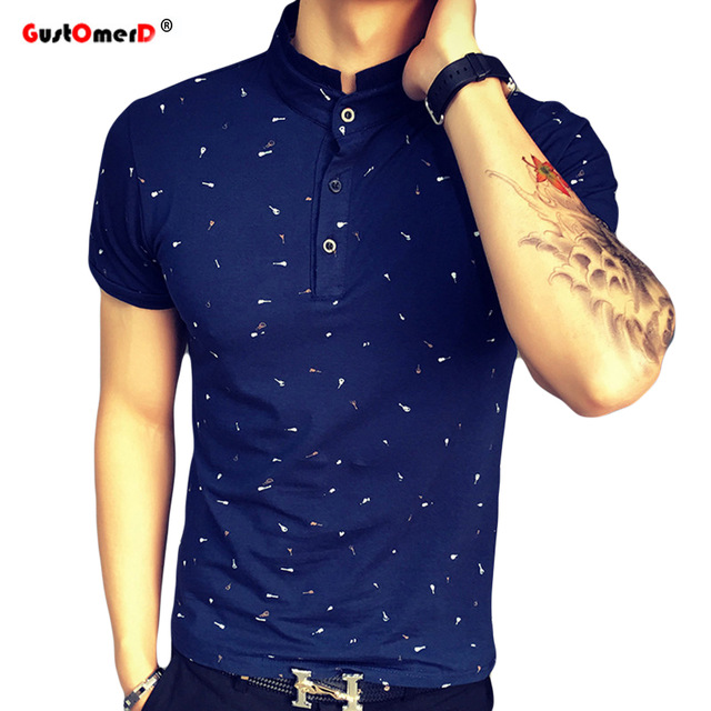 GustOmerD New Guitar Printed Tops Male T-shirt Man's Casual Cotton Short Sleeve Tee Fashion T-shirts navy size 3xl 80 to 88kg cotton & polyester