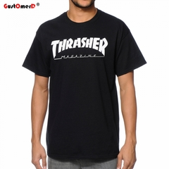 GustOmerD New Men Tshirt THRASHER Fashion Casual Short Sleeve Printing Loose Mens T-Shirt black size s 45 to 50kg cotton