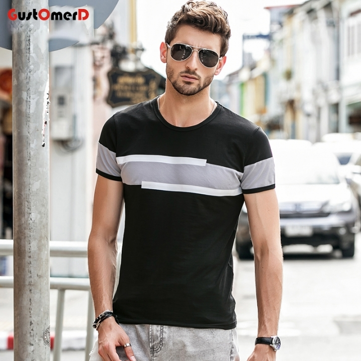 GustOmerD New Short Sleeve O-Neck T Shirt Men Brand Clothing Fashion Patchwork Cotton Tee Tops black size 2xl 72 to 80kg cotton