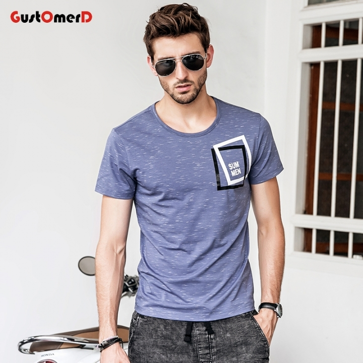 GustOmerD Short Sleeve T shirts Men Square Design Printed Fashion Tees O-Neck Slim Fit Clothing blue size m 50 to 58kg cotton